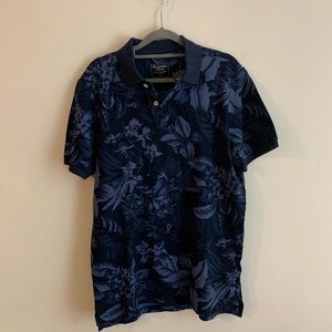 Abercrombie and Fitch tropical print polo shirt M